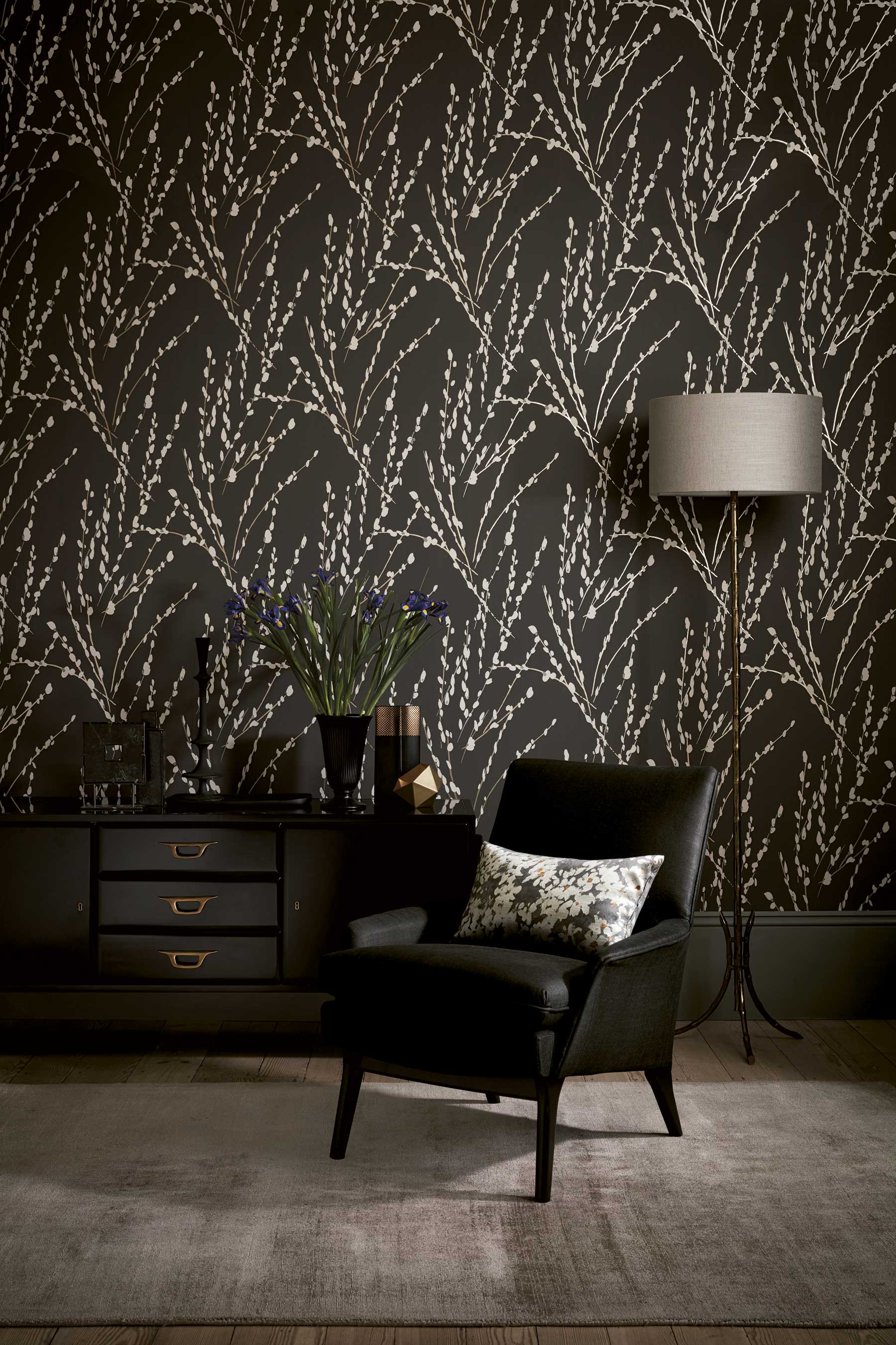 Romo Mikado wallpaper in Charcoal