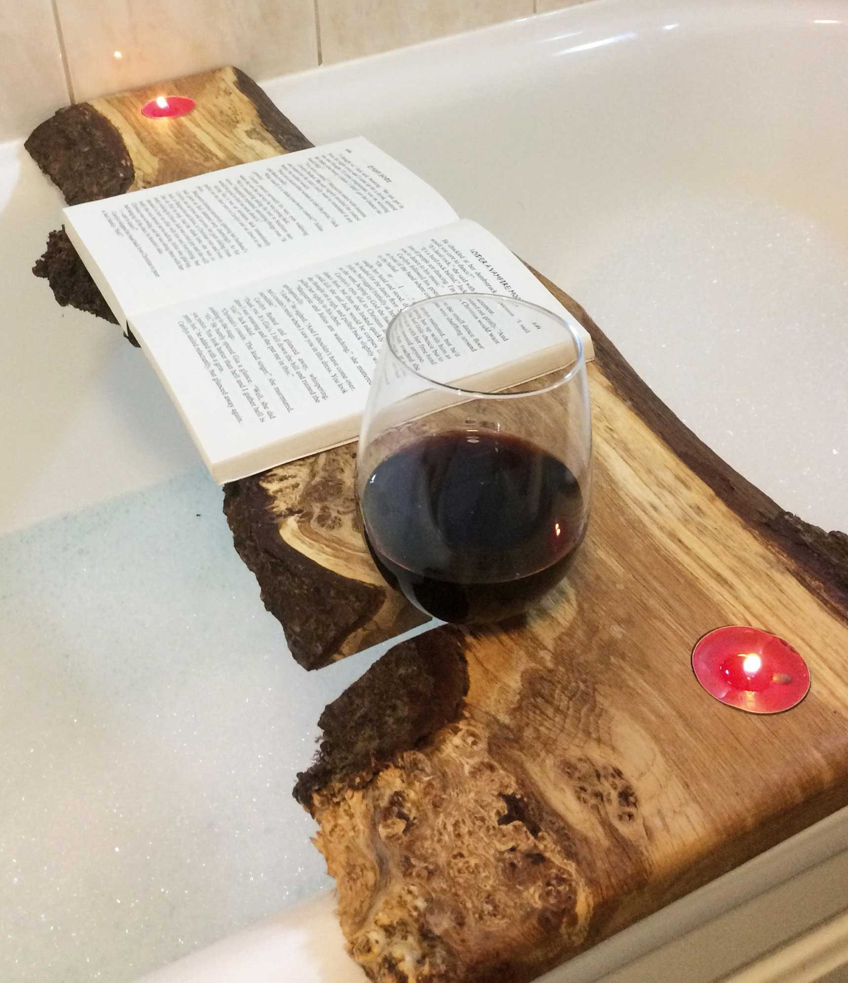 Bath Caddy book and wine holder