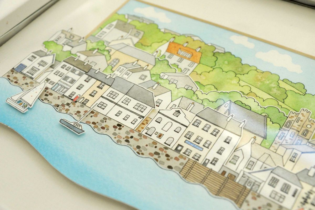 Appledore Layered Painting by Clare Willcocks