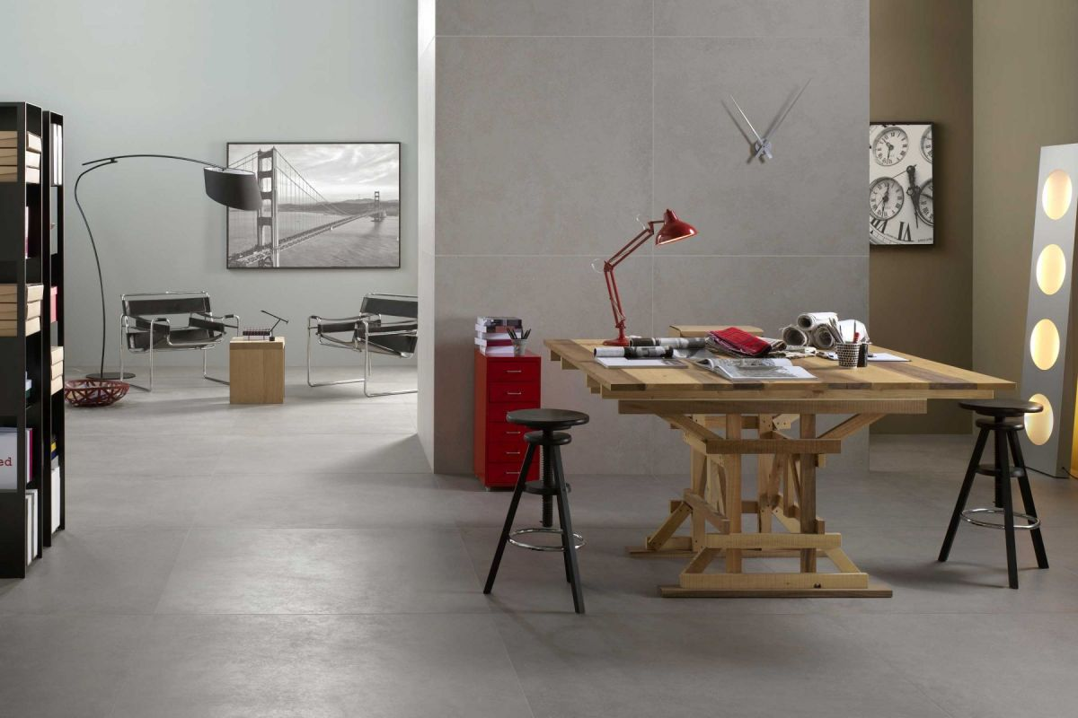Large format concrete-effect tiles from Devon Tiles come in sizes from 60x60cm up to 120x120cm