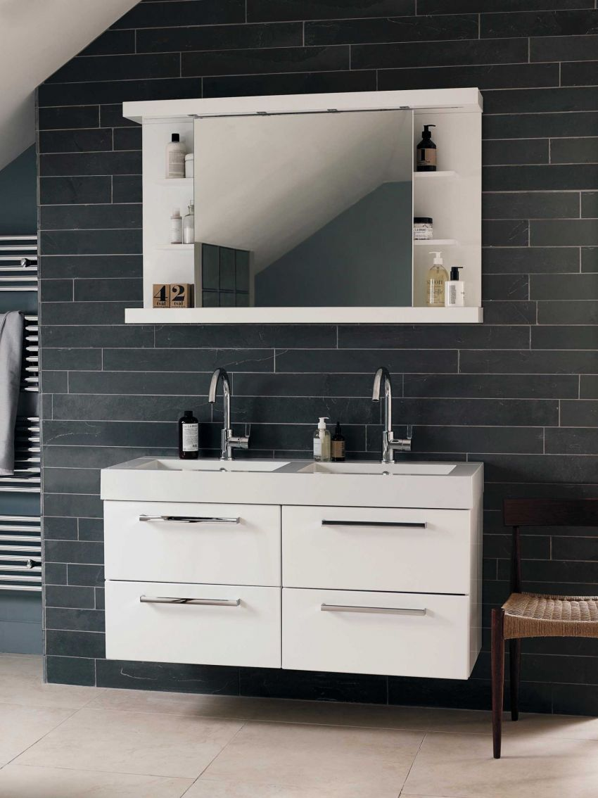 Wall-hung Lugano double basin and four-drawer unit in a white-gloss finish called Lucido (£1,900) and sliding mirror cabinet (£1,100). The cabinet is also shown in Lucido and features four halogen spotlights and a charger socket.