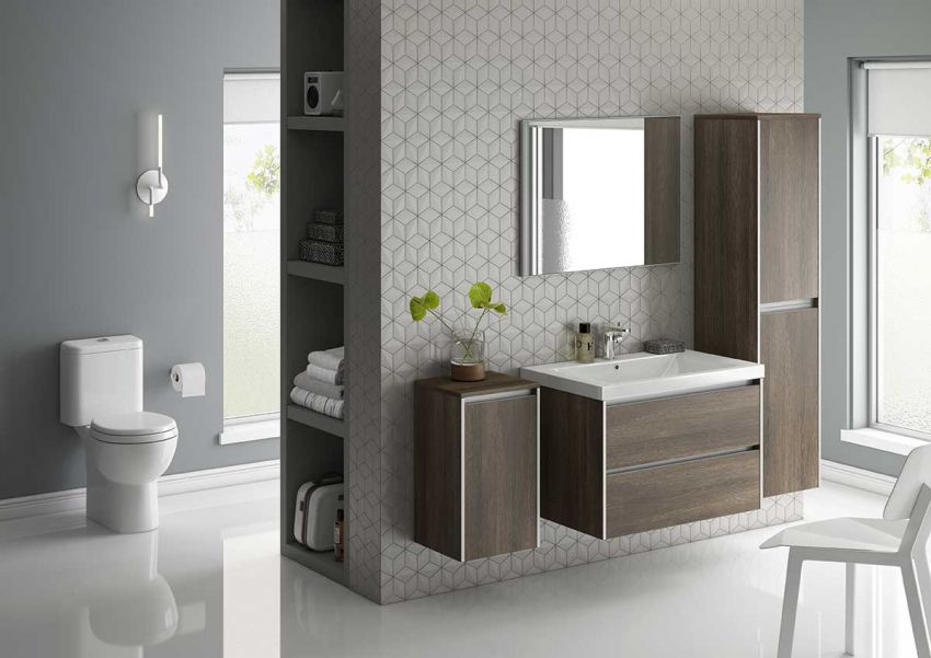 Modern woodgrain fitted bathroom furniture
