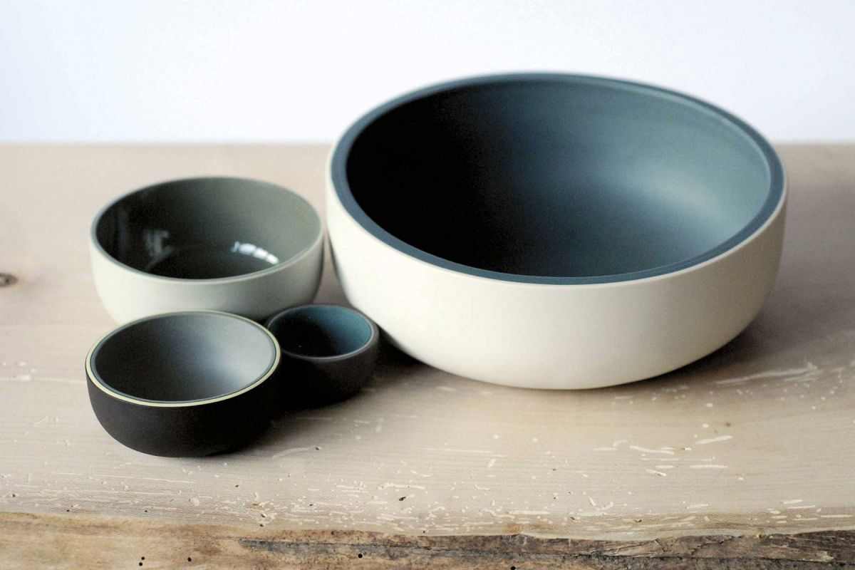 Teal and grey ceramics vessels by Jill Shaddock