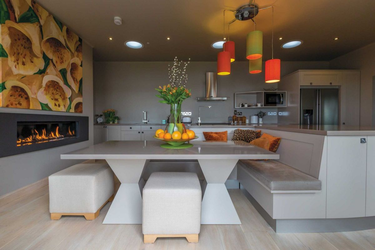 Painted kitchen with large dining area, by David Glover Furniture