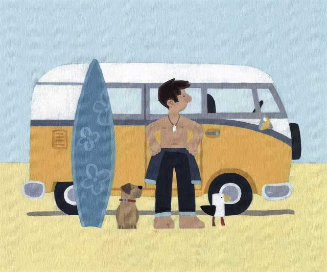 Sasha Harding's 'Cool Surf Dude, Bantham Beach' (signed limited edition print)